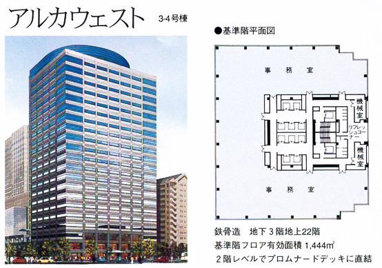 アルカウェスト:鉄骨造 地下3階地上22階/基準階フロア有効面積1,444㎡/2階レベルでプロムナードデッキに直結